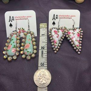 💐 Sale Fashion Jewelry Flower Heart Oval Earrings